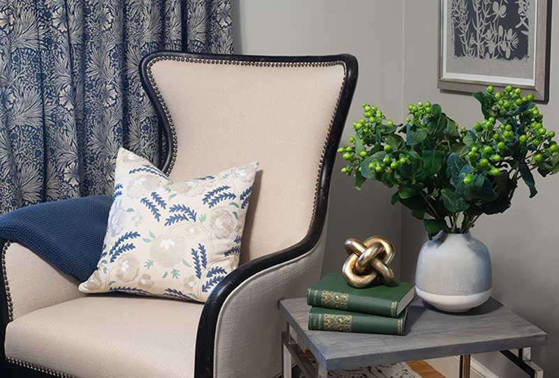 Blue And Cream Chair Vignette