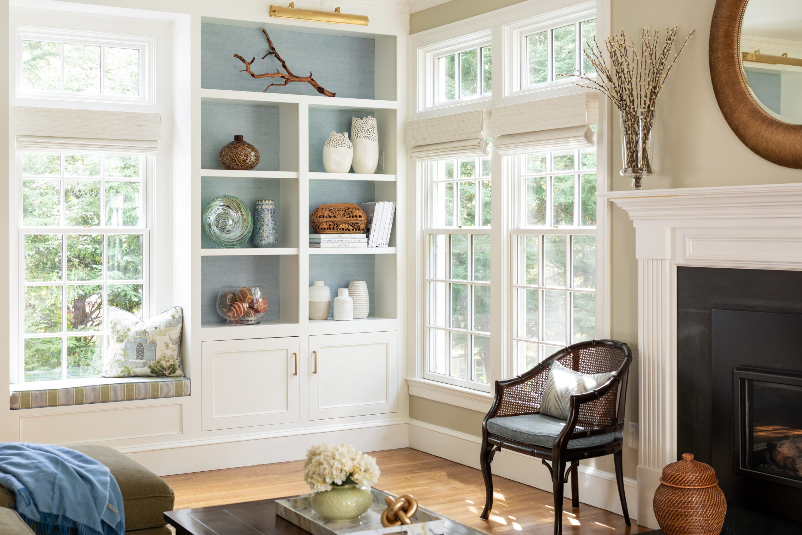 A corner nook in a sun-drenched family room