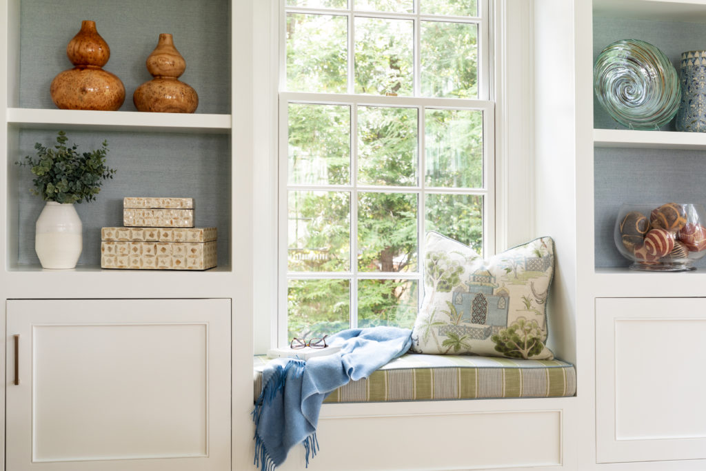 sun-drenched family room window seat