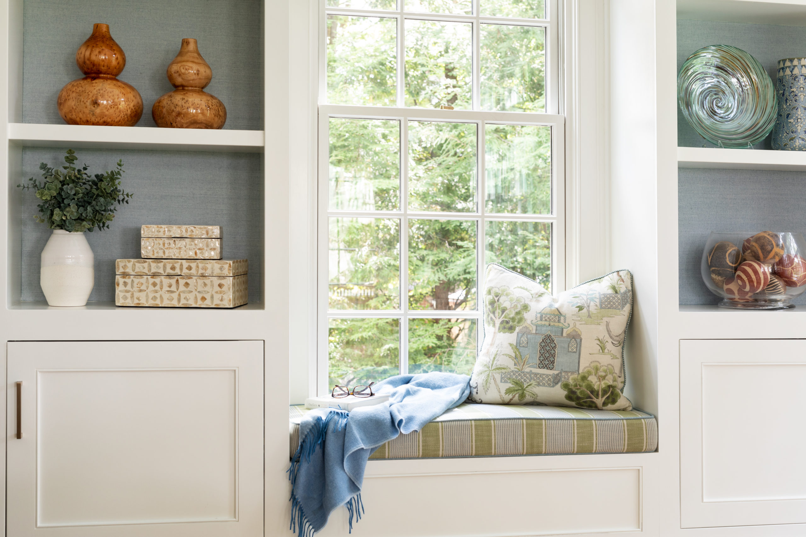 Window seat in a sun-drenched family room