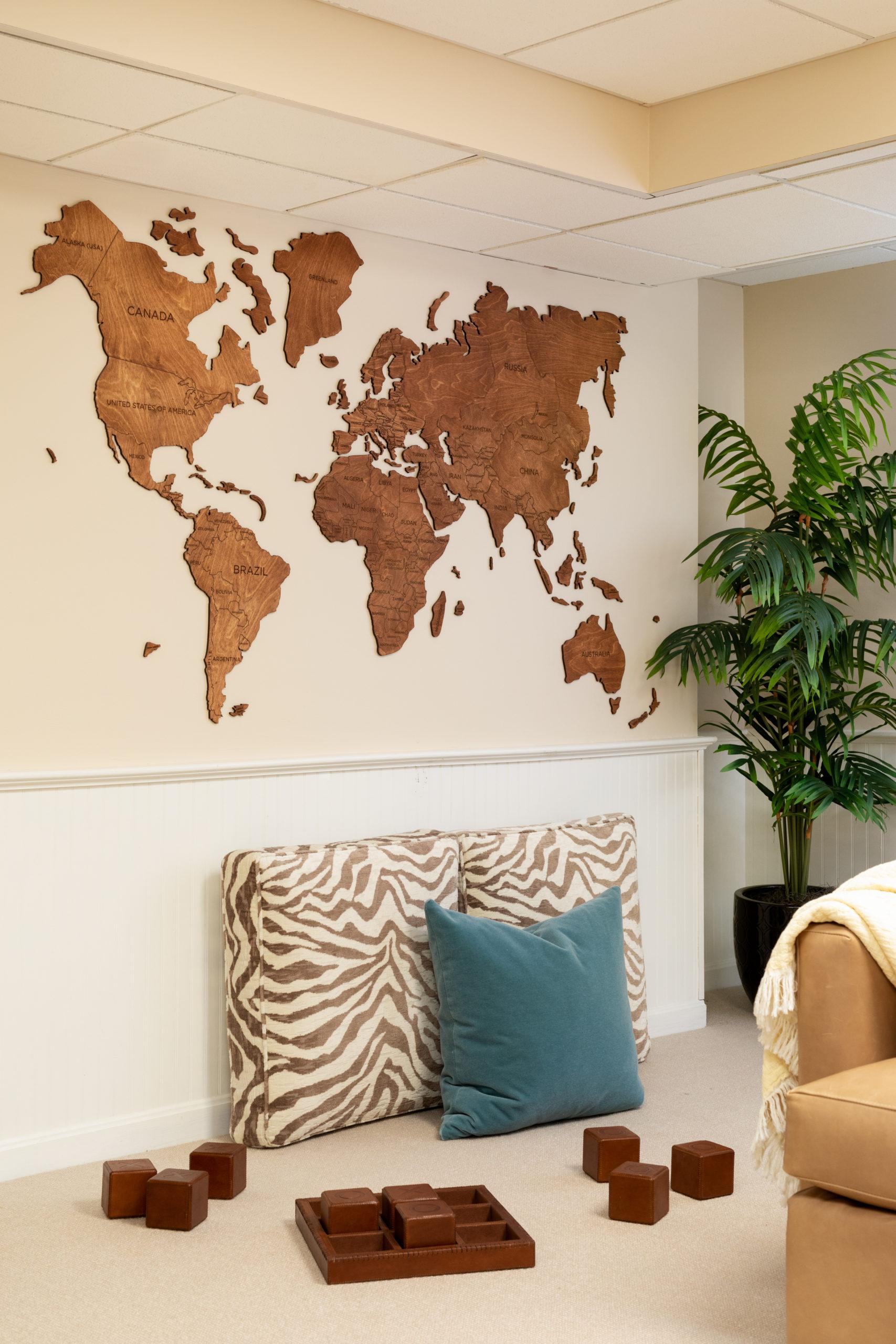 Basement playroom world map wall
