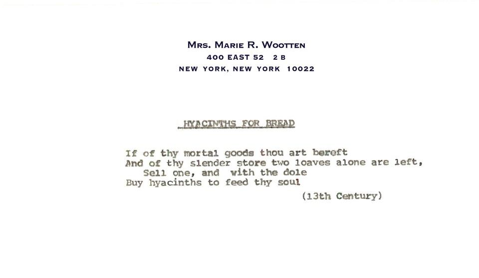 Poem: Hyacinths for bread